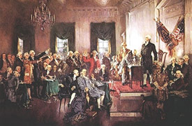 Painting of the signing of the U.S. Constitution